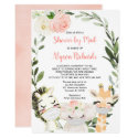 Girl baby shower by mail Animals with masks Invitation
