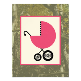 Girl Baby Shower - Camo & Hot Pink Carriage Card