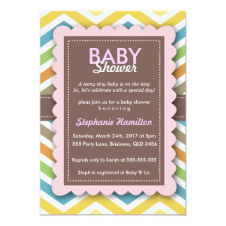 Girl Baby Shower Chevron Frame Colorful Card