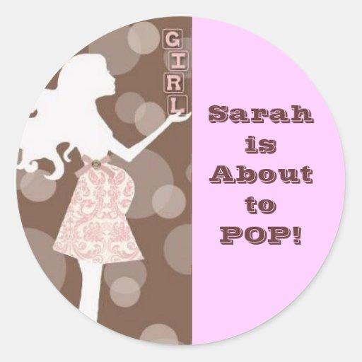 Girl Baby Shower Classic Round Sticker