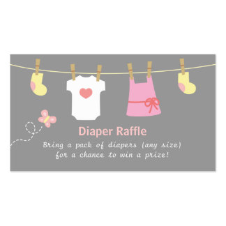 Girl Baby Shower, Clothes Diaper Raffle Tickets Business Card Templates