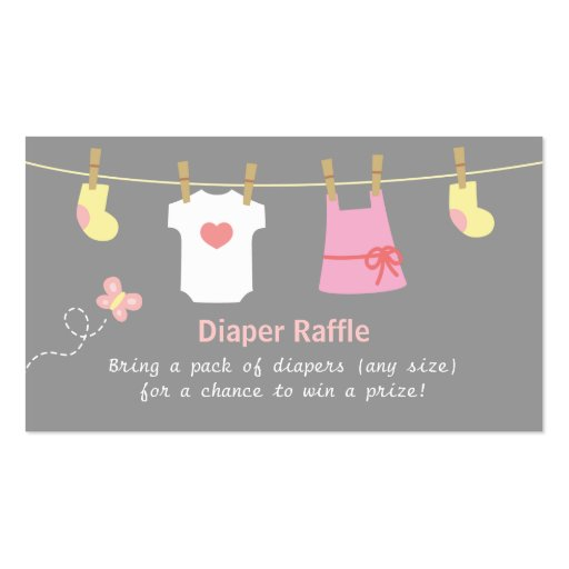 Girl Baby Shower, Clothes Diaper Raffle Tickets Double-Sided Standard ...