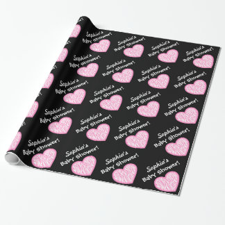 GIRL Baby Shower  Custom Name Pink Zebra Heart 2 Wrapping Paper