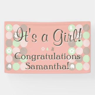 Girl Baby Shower Custom Printed Pink Brown Dots Banner