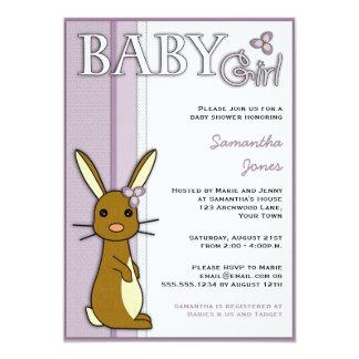 Girl Baby Shower Cute Bunny Flower - Purple Card