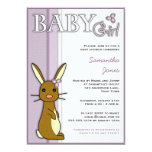Girl Baby Shower Cute Bunny Flower - Purple 5x7 Paper Invitation Card
