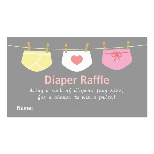 girl baby shower cute diaper raffle tickets business card zazzle
