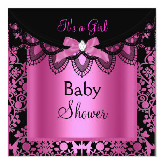 Girl Baby Shower Damask Hot Pink Black Custom Invitation