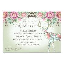 Girl Baby Shower Elegant Rose Floral Deer Antler Invitation