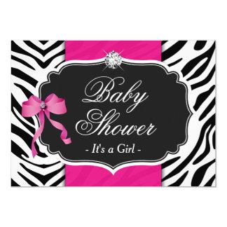Girl Baby Shower   Elegant Zebra Print Hot Pink Card
