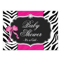 Girl Baby Shower - Elegant Zebra Print Hot Pink Invitation