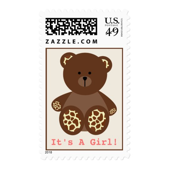 Girl Baby Shower - Giraffe Print Stuffed Bear Postage