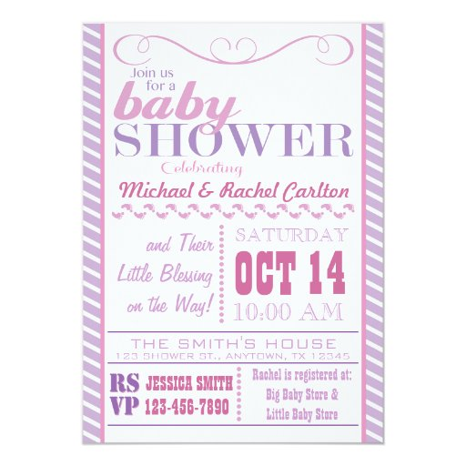 Girl Baby Shower Invitation (front side)