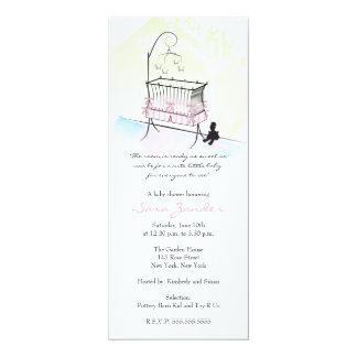 Girl Baby Shower Invitation - Baby Crib