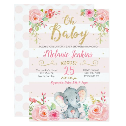 Girl Baby Shower Invitation, Elephant Baby Shower Invitation