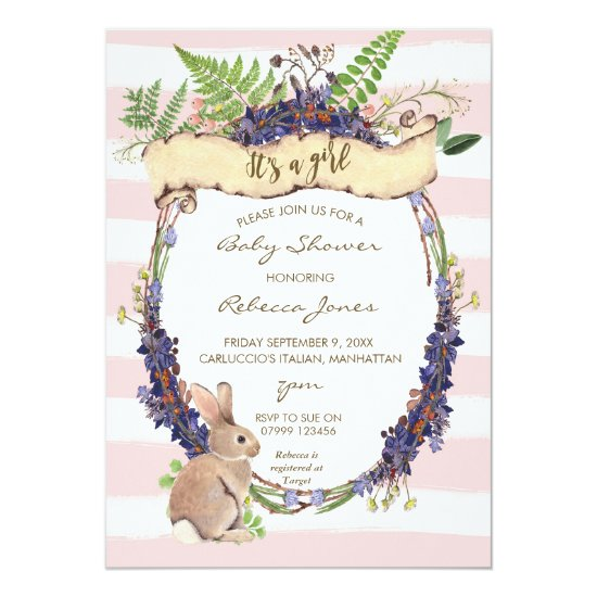 girl baby shower invitation forest rabbit bunny