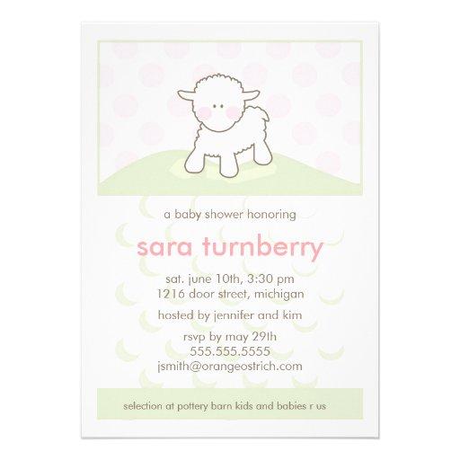 Girl Baby Shower Invitation - Little Lamb
