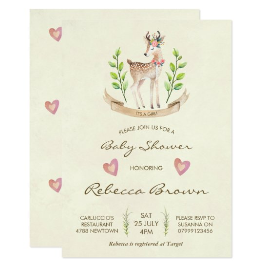 girl baby shower invitation woodland forest deer
