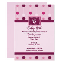 Girl Baby Shower Invitations Pink Dots