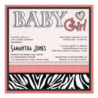 Girl Baby Shower Invite Pink Zebra