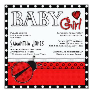 Girl Baby Shower Invite Red Ladybug