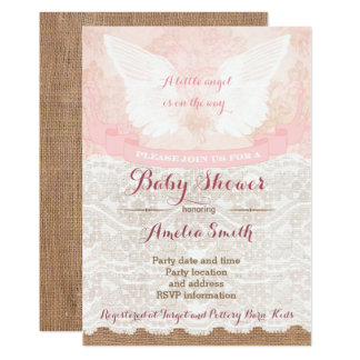 girl baby shower invites, pink angel baby shower card