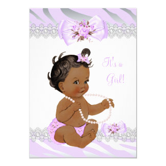 Girl Baby Shower Lilac Zebra Lace Ethnic Card