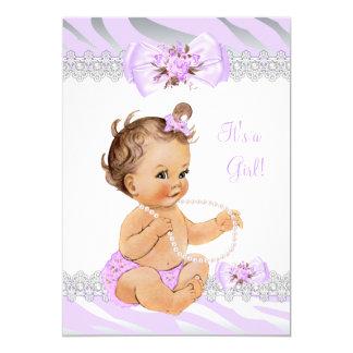 Girl Baby Shower Lilac Zebra Lace Light Brunette Card