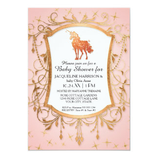 Girl Baby Shower Magical Unicorn Rose Gold Sparkle Card