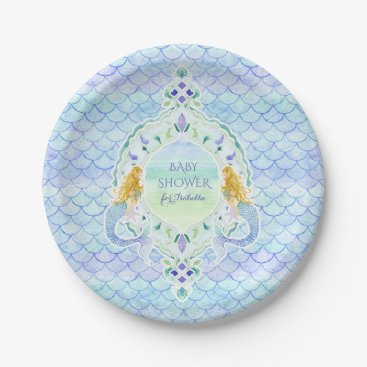 Beach Themed Girl Baby Shower Mermaid Fish Scale Pattern Paper Plate