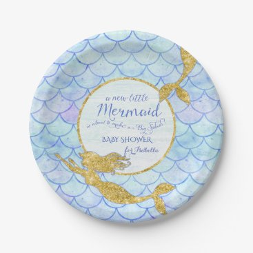 Beach Themed Girl Baby Shower Mermaids Gold Glitter Fish Scale Paper Plate