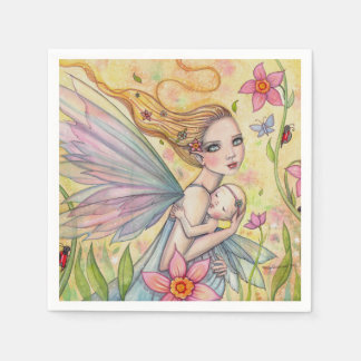 Girl Baby Shower Napkins Mother Baby Fairies Standard Cocktail Napkin