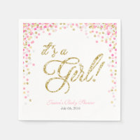 Girl Baby Shower Paper Napkin Pink Gold Confetti