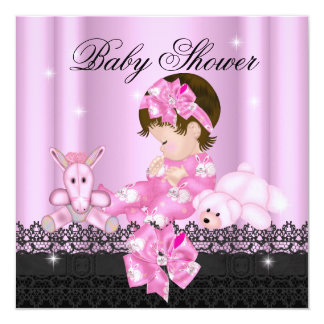Girl Baby Shower Party Pink Black Lace 5.25x5.25 Square Paper Invitation Card