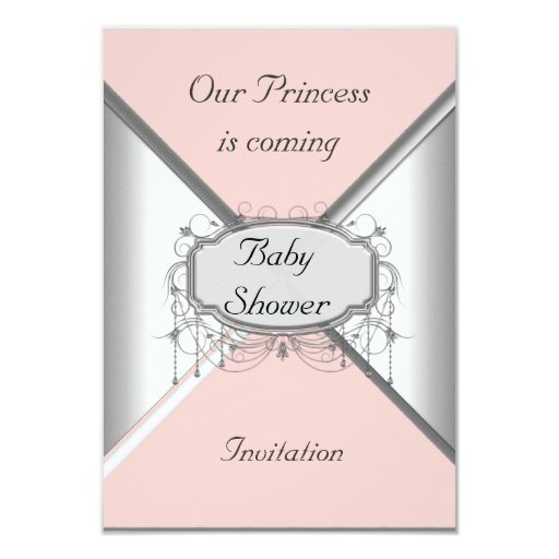 Girl Baby Shower Party Pink Silver  Invitation Announcement