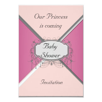 Girl Baby Shower Party Pink Silver  Invitation