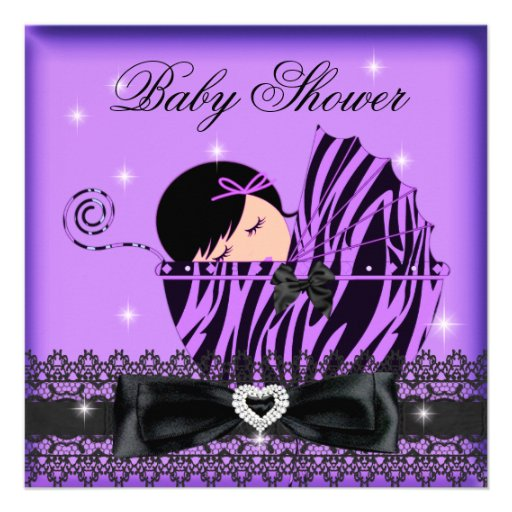 girl baby shower party purple black lace square paper
