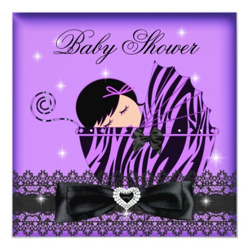 Girl Baby Shower Party Purple Black Lace Personalized Announcement