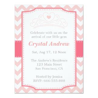 Girl Baby Shower - Pink Baby Princess and Tiara 4.25x5.5 Paper Invitation Card