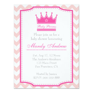 Girl Baby Shower - Pink Baby Princess 4.25x5.5 Paper Invitation Card