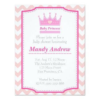Girl Baby Shower - Pink Baby Princess With Crown 4.25x5.5 Paper Invitation Card