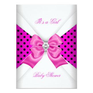 "Girl Baby Shower Pink Black White Spots 4.5"" X 6.25"" Invitation Card"