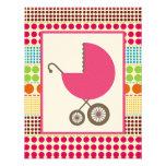 Girl Baby Shower Pink Carriage & Boho Dots Custom Invitation