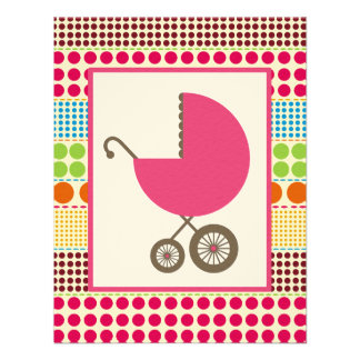Girl Baby Shower Pink Carriage & Boho Dots Custom Invitation