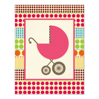 Girl Baby Shower Pink Carriage & Boho Dots 4.25x5.5 Paper Invitation Card