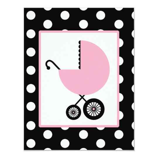 Girl Baby Shower - Pink Carriage & Polka Dots Card
