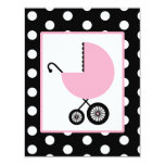 Girl Baby Shower - Pink Carriage & Polka Dots Custom Invite