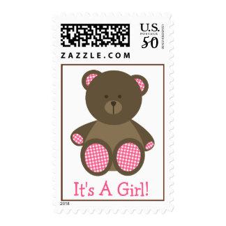 Girl Baby Shower - Pink Gingham Stuffed Bear Postage