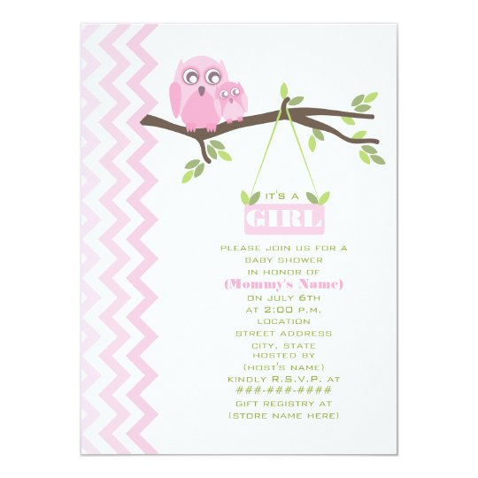Girl Baby Shower Pink Mother & Baby Owl Card