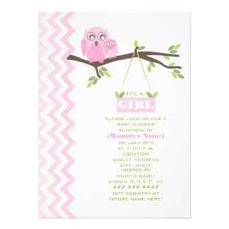 Girl Baby Shower Pink Mother & Baby Owl Custom Announcement
